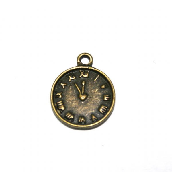 12 x 12mm Antique brass clock charm – S.F05 – WA207 - 1411052